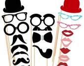 Wedding Photo Booth Props - 19 Piece Photo Props set - Photobooth Props