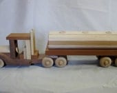 Natural Wood -Toys - Wooden Toy  - Toy Semi Truck w Oil Tanker  -Trailer - Pretend Play - Waldorf  - Handmade  Wooden Toy