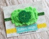St. Patricks Day Headband-Lime Green and Emerald Shamrock Headband- Saint Patricks Day- Newborn/Infant/Toddler/Adult - Photography Prop