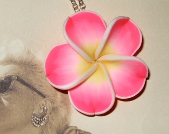 Flower Necklace, Polymer Clay Flower, Pink Tiki Flower, Pink Hibiscus, Rockabilly Jewelry, Flower Pendant, Tiki Jewelry, Pink Polymer Flower