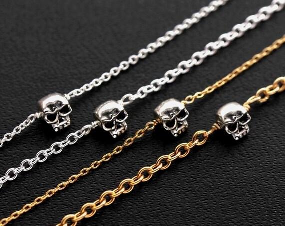 Skull Bracelet, Gold Skull Bracelet, Tiny Sterling Silver Skull, 14K Gold Filled Chain