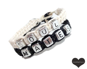 ONE DAY SALE Fiance gift, Soul Mates Bracelets, Couples Bracelets, Hemp Bracelets, Personalized Jewelry, Couples Jewelry, Macrame Bracelets