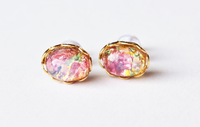Vintage Fire Opal Earrings Vintage Glass Opal 14K Gold