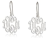 Monogram Earrings - 925 Sterling Silver Initial Earrings- 0.8""