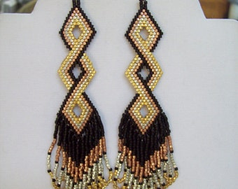 Native Amerian Style Beaded Twisted Earrings in Black, Gold, Silver and Copper Brick Stitch, Peyote, Boho, Southwestern Hippie Great Gift