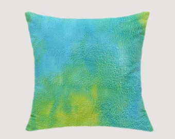 "Decorativ Pillow case, Batik Throw pillow case, Turquoise, Yellow, Green colors, fits 18""x 18"" insert, Toss pillow case, Cushion case."