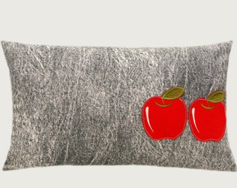 "Decorative Pillow case, Grey, White color cotton with Two Red Apples applique Lumbar pillow case, fits 12"" x 20"" insert."
