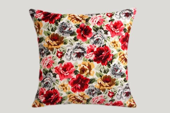 Cotton Velvet Decorative Pillows : Decorative Pillow case Cotton-Velvet fabric with Roses