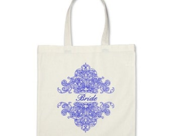 Wedding Tote Bag - Personalized Ornate Tote in Royal Blue