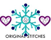 Snowflake and Hearts Machine Embroidery Design File 4x4 5x7 6x10