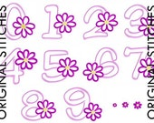 Daisy Number Set 1 2 3 4 5 6 7 8 9 0 Applique and Machine Embroidery Digital Design File 5x7 6x10