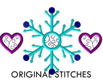 Snowflake and Hearts Machine Embroidery Design File 4x4 5x7 6x10