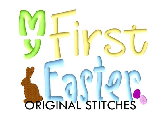 My First Easter (Bunny) Machine Embroidery Digital Design File 4x4 5x7