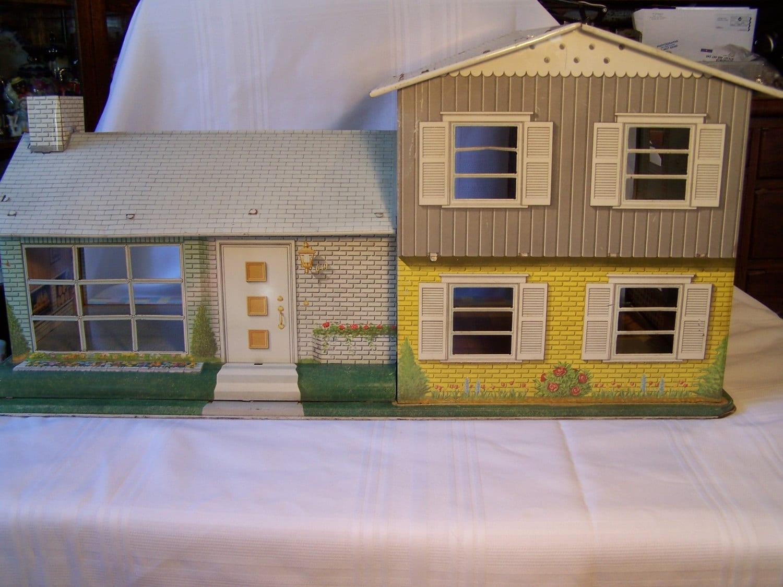 Marx Split Level Retro Tin Litho Doll House Furnished