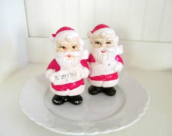 Vintage Shabby Santa Claus Salt and Pepper Shakers, Midcentury Made in Japan,