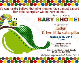 Caterpillar Invitation Printable Baby Shower party invitations by Luv Bug Design