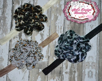 Chiffon flower headband, girls animal print headband, girls headband, flower headband, photo prop,