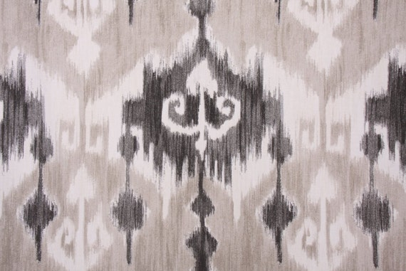"Two  96"" x 50""  Custom Curtain Panels - Rod Clips or Rod Pocket - Ikat - Grey or Orange"