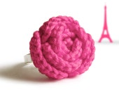 Fuchsia pink rose ring - original gift from France