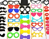 Wedding Photo Booth Props - 42 Piece Party Prop Set - Photobooth Props - Mustaches, Glasses, Lips, Lattice Bow Ties and More