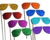 Photo Booth Props  - Sunglasses on a Stick - Set of 8 - Rainbow Glitter Sunglasses - Summer Fun