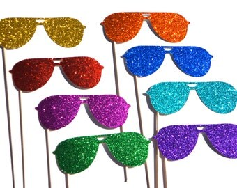 Photo Booth Props  - Rainbow Glitter Aviators on a Stick - Set of 8 - Rainbow Glitter Sunglasses