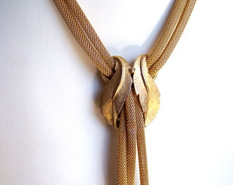 Whiting-Davis style necklace gold tone mesh double-sided slider necklace