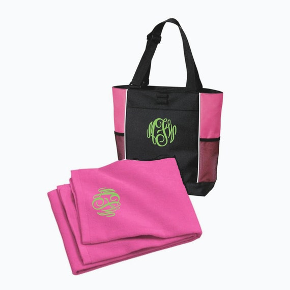 Monogrammed Beach Towel And Bag Set: Items Similar To Monogrammed Beach Bag And Towel Set