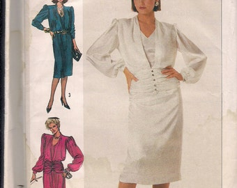 1985 Simplicity pattern 7215 misses dress in two lengths size 10 bust 32.5