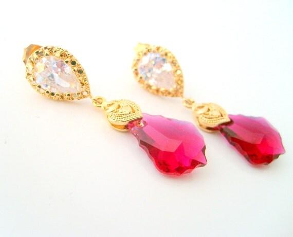 Vintage inspired Swarovski baroque hot pink cz stone 925 sterling silver post earrings wedding jewelry bridesmaid gift bridal earrings