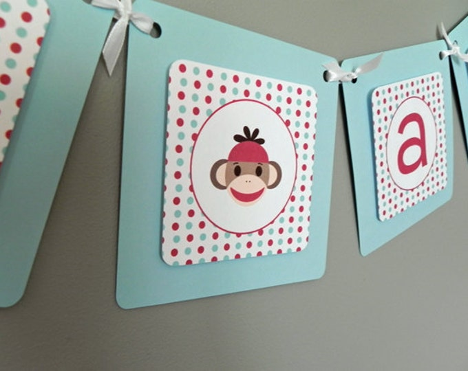 Baby Shower Banner: Blue, Red & Brown Sock Monkey - It's a Boy Baby Shower Decoration Birthday Party Celebration