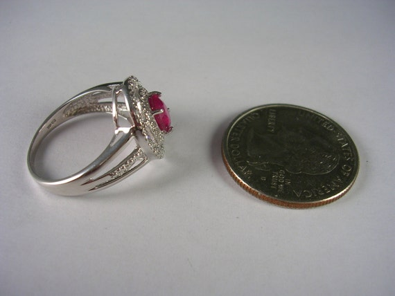 SALE Estate Ruby Ring Double Diamond Halo Mounting 134Ctw