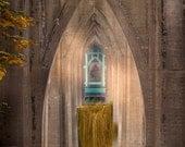 "11x14 archival print ""Under the St. Johns Bridge"" with figure Portland, Oregon Cathedral Park"