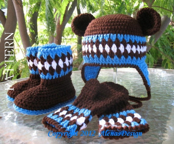 Crochet Baby Hat Bear Ears Pattern : Crochet PATTERN Set Bear Hat Toddler Booties and