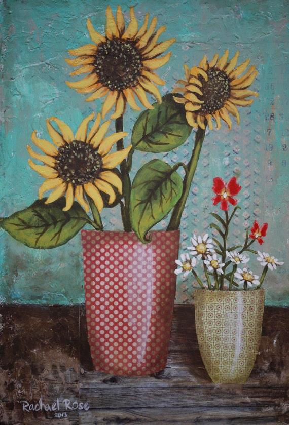 Sunflowers & Monkey Flowers Mixed Media Original 11x14