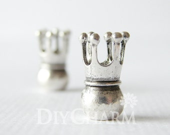 Silver Tone 3D Crown Beads With 5mm Hole 20x17mm - 5Pcs - AR26498