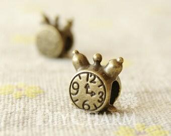 Antique Bronze Tone Clock Beads With 4.5mm Hole 11x10mm - 10Pcs - AR26822
