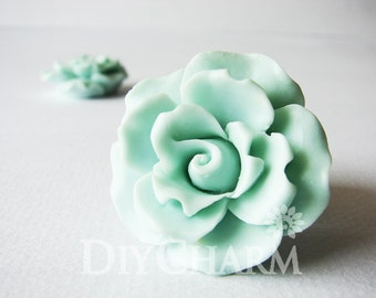 Green Color Jewelry Resin Flowers 37x37mm - 10Pcs - AD25641