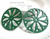 6 PCS - 50 x 50mm Pretty Green Windmill Wooden Charm/Pendant MH194 07