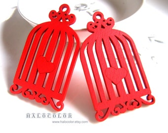 6 PCS - 33x59mm Pretty Red Birdcage With Heart Wooden Charm/Pendant MH139 03