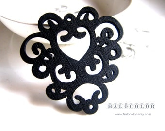 6 PCS - 50 x 50mm Pretty Black Wrap Flower Wooden Charm/Pendant MH167 01