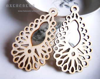 35x62mm Pretty Nature Water Drop Wooden Charm/Pendant MH179 11