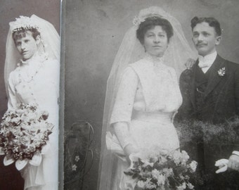 Antique Vintage Wedding Gown Photos  Cabinet Photographs