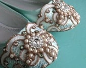 Mint Green Celtic Looping Lace Ballet Flat Wedding Shoes - Any Size - Pick your own shoe color and crystal color