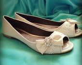 Chic Bows Bridal Open toe Ballet Flats Wedding Shoes - All Full Sizes - Pick your own shoe color