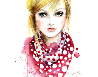 Watercolor illustration - Fashion art print - LV polka dot scarf
