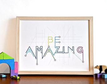Be Amazing Typography Subway Metro Map Art Print - modern nursery inspirational art - 12x16 blue green children decor
