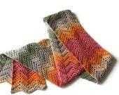 Multicolor Thin Scarf - Crochet Scarflette - Unisex