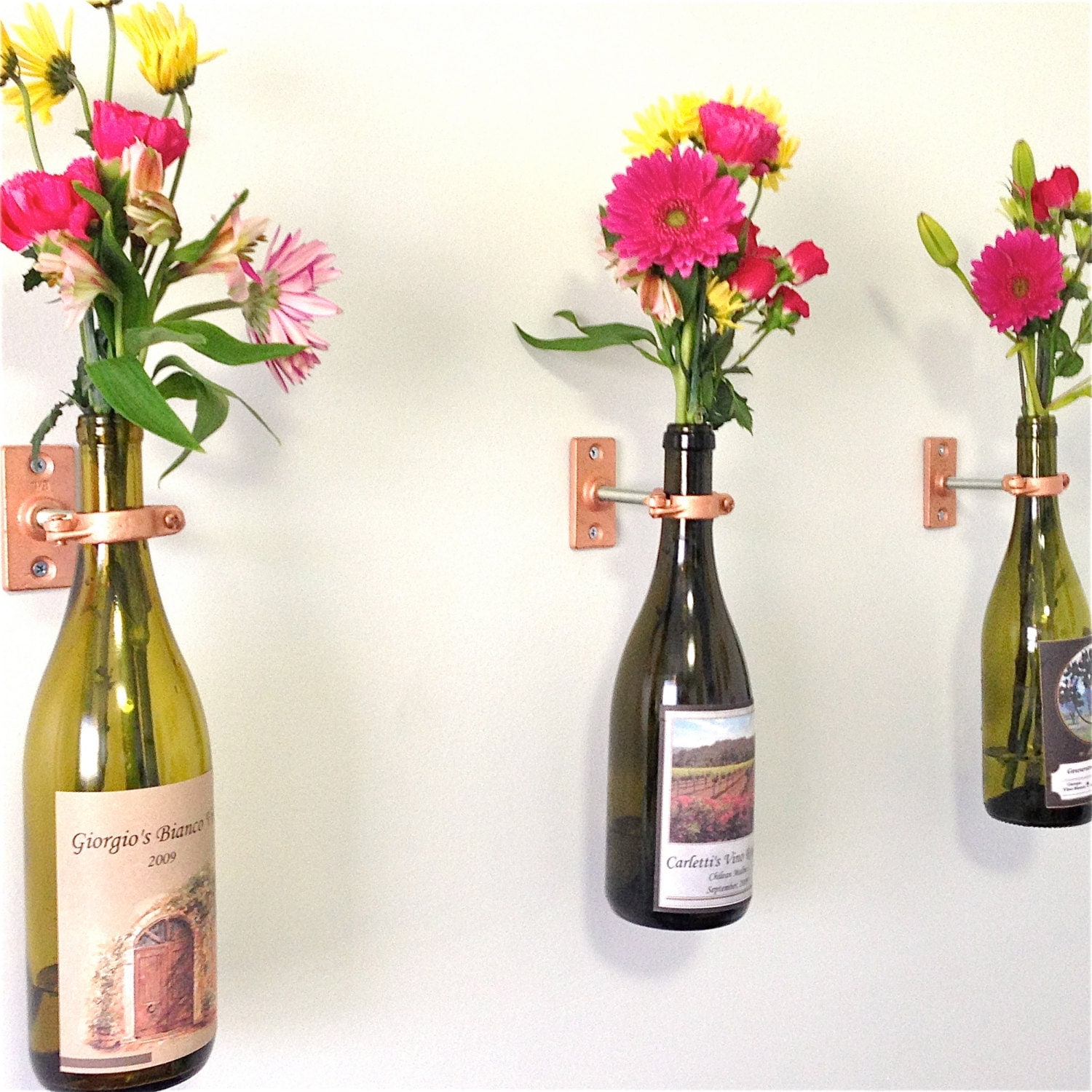Wall vases for flowers - Hardware Only 20 Wine Bottle Wall Flower Vase Kits Copper Silver Or Iron Hardware Diy Hostess Gift