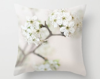 Decorative Pillow Cover, Photo Pillow Case, Accent Pillow Case, White Flowers Pillow, White Cream Pillow Pear Blossom Pillow, 16 18 20 inch